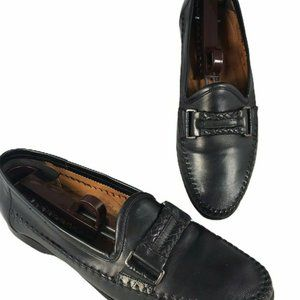 SANTONI Men's Gladwin Loafers Shoes Black  Size 8
